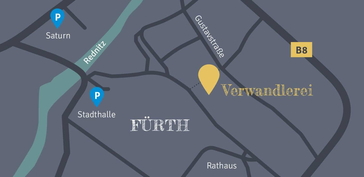 Verwandlerei Fürth - Anfahrt, Karte